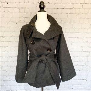 Zara Woman Pea Coat - Charcoal Grey